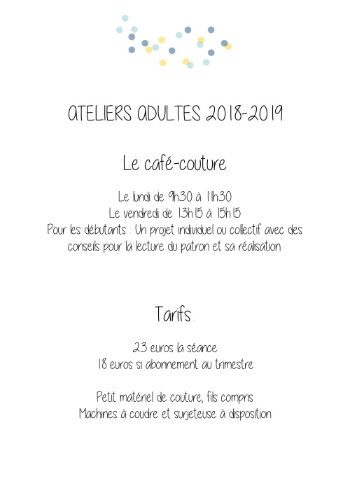 ateliers adultes 2018-2019